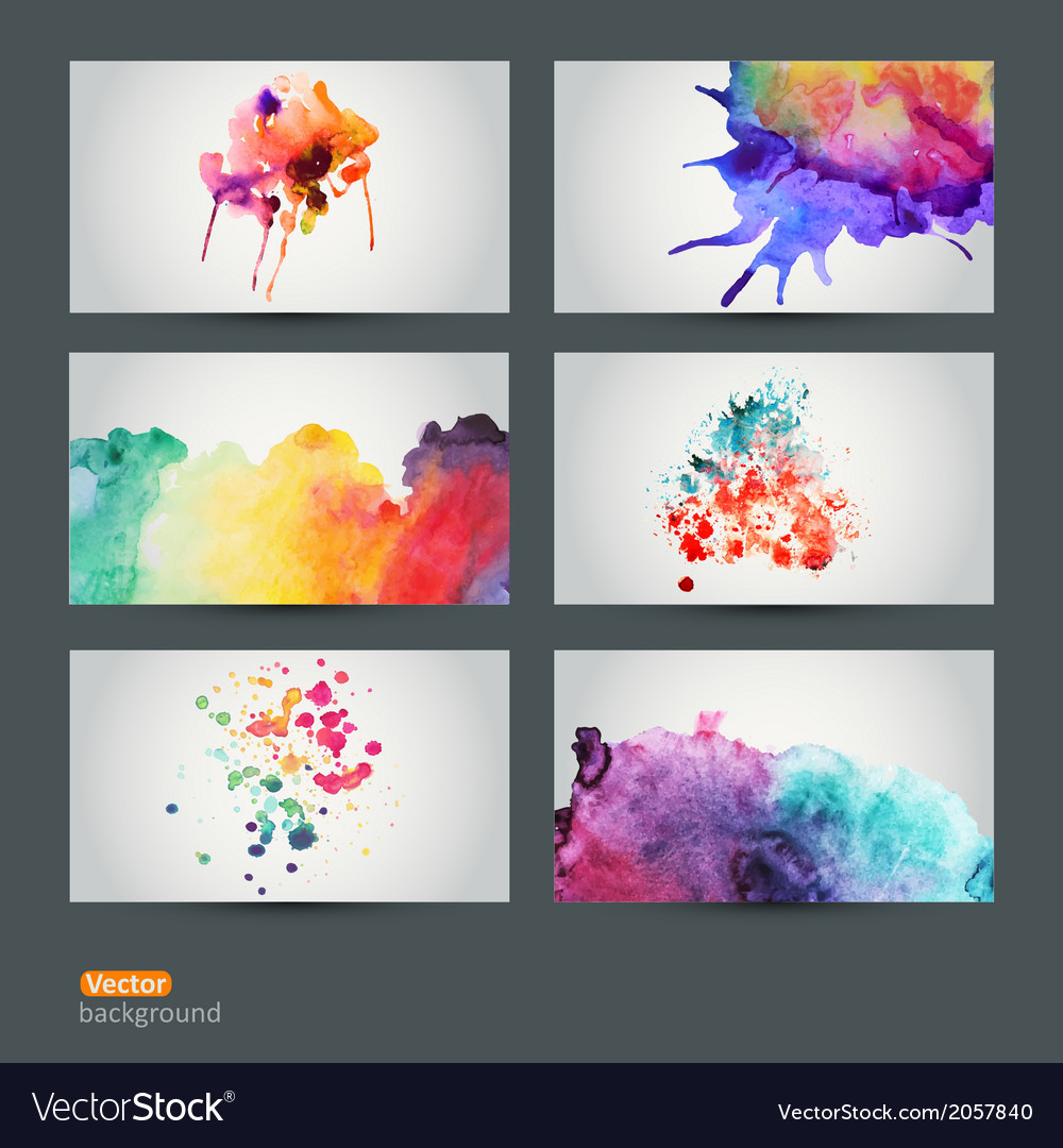 Set of six watercolor abstract hand drawn vector | Price: 1 Credit (USD $1)