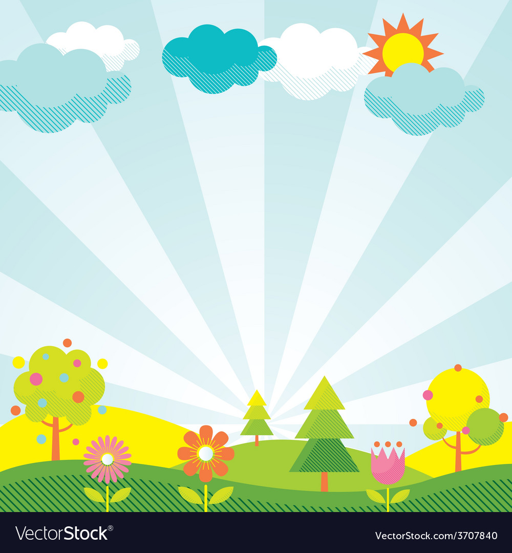 Spring season object icons background vector | Price: 1 Credit (USD $1)