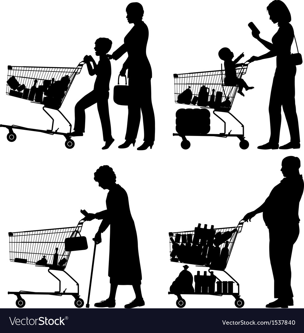 Supermarket shoppers vector | Price: 1 Credit (USD $1)