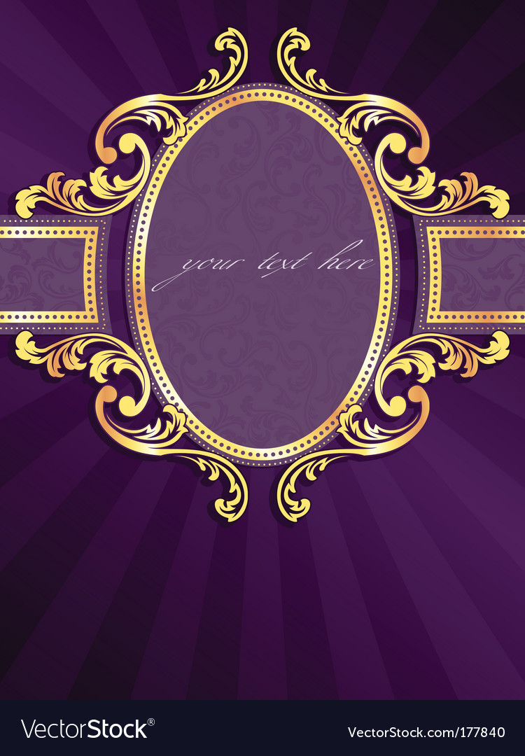 Vertical label with gold filigree vector | Price: 1 Credit (USD $1)