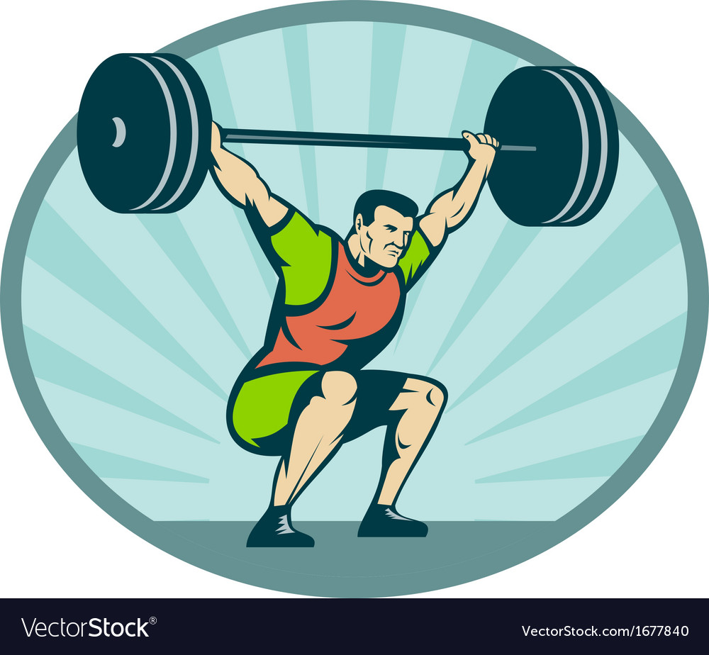 Weightlifter lifting heavy weights vector | Price: 1 Credit (USD $1)