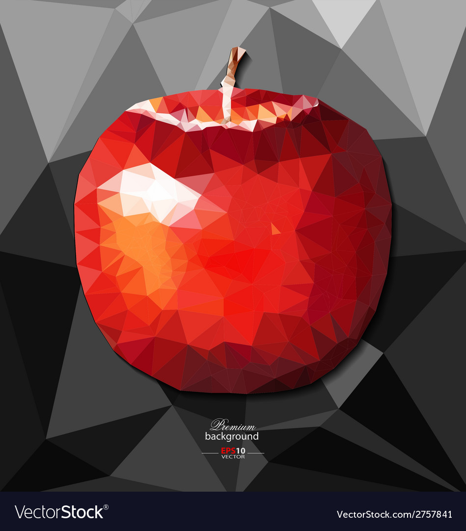 Abstract polygon background with apple vector | Price: 1 Credit (USD $1)