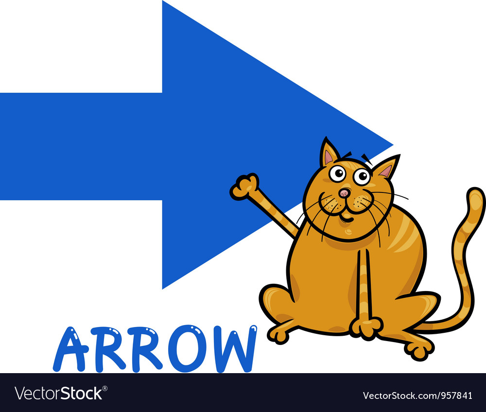 Arrow shape with cartoon cat vector | Price: 1 Credit (USD $1)
