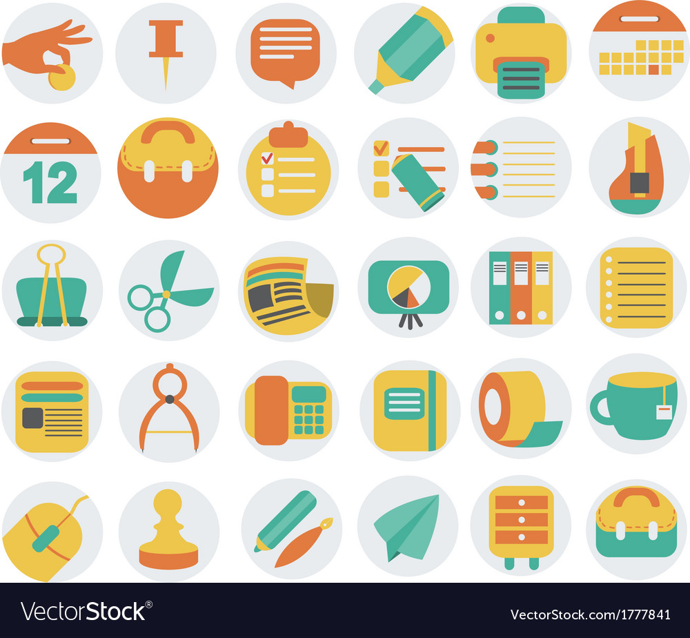 Business and office flat icons set vector | Price: 1 Credit (USD $1)