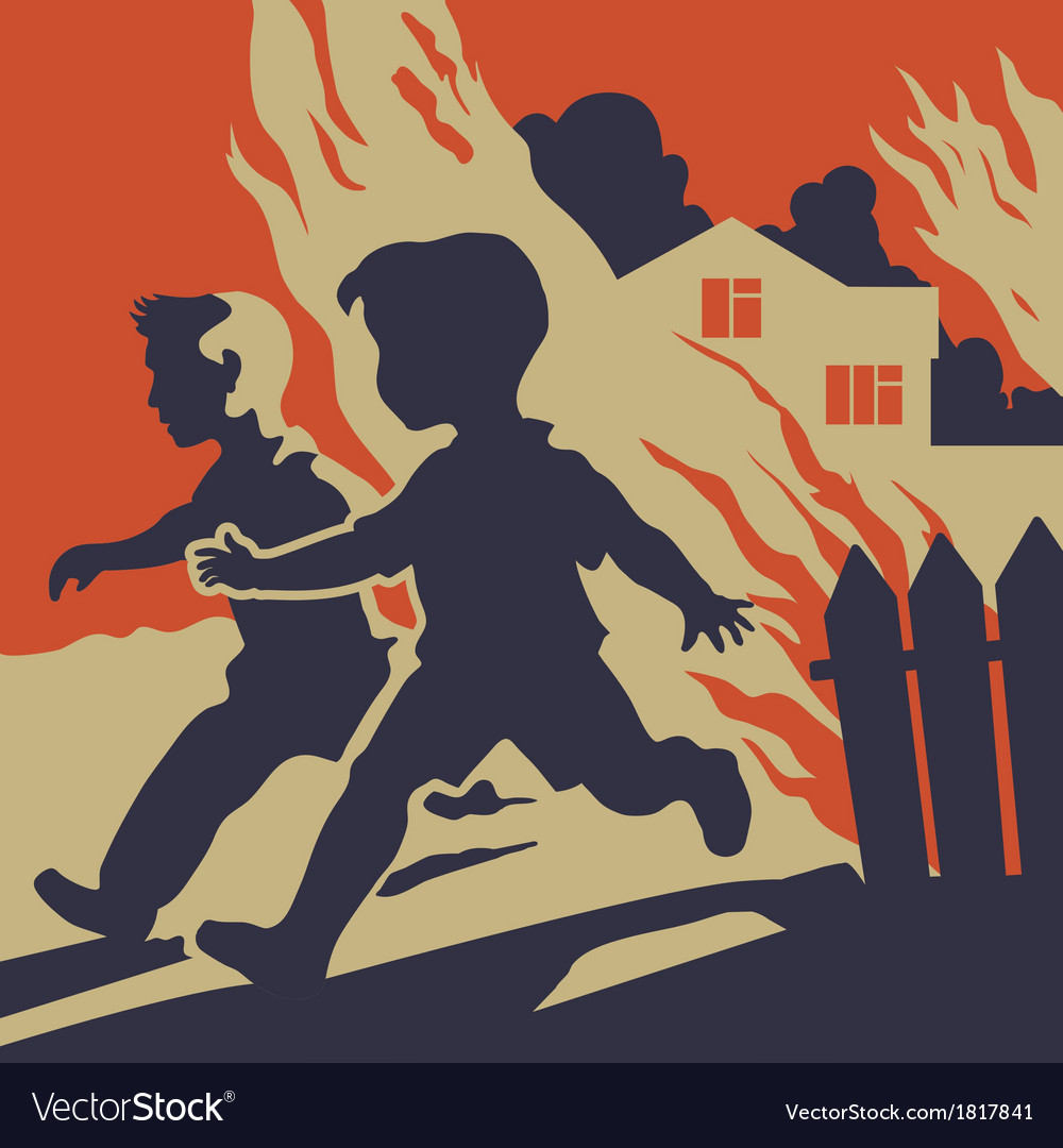 Children running away from fire flames vector | Price: 1 Credit (USD $1)