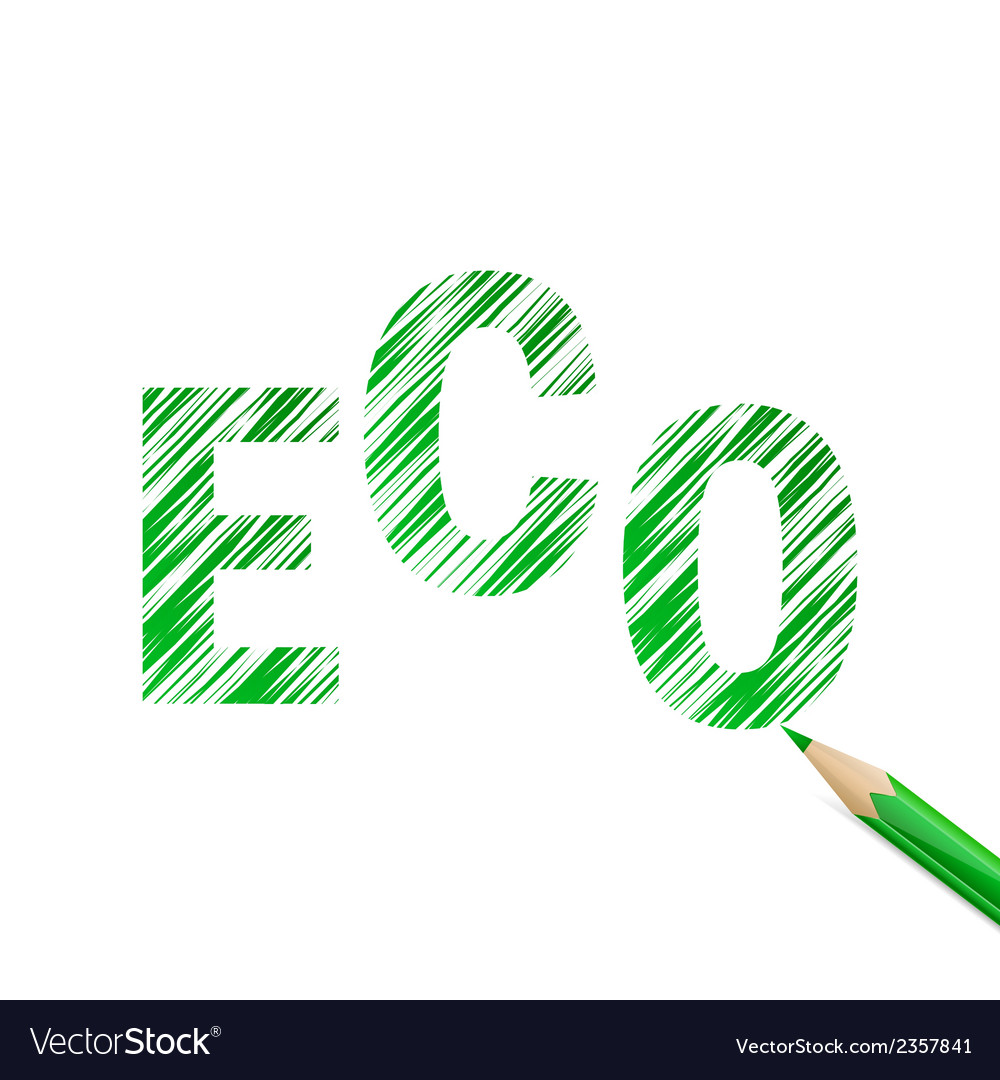 Eco text drawn with green pencil vector | Price: 1 Credit (USD $1)