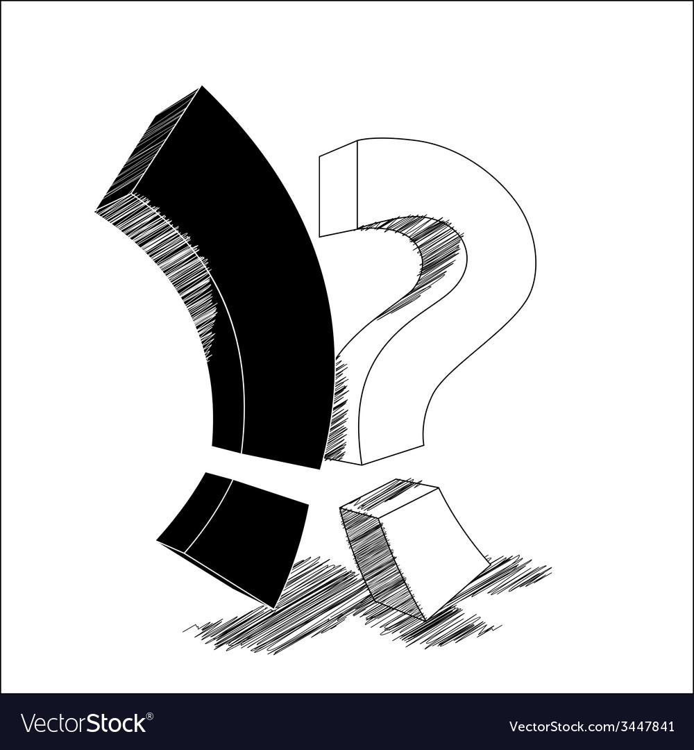 Exclamation point vs question mark vector | Price: 1 Credit (USD $1)