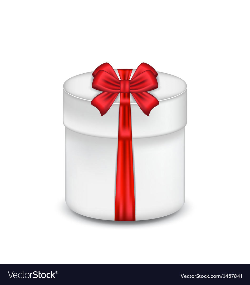 Gift box with red bow isolated on white background vector | Price: 1 Credit (USD $1)