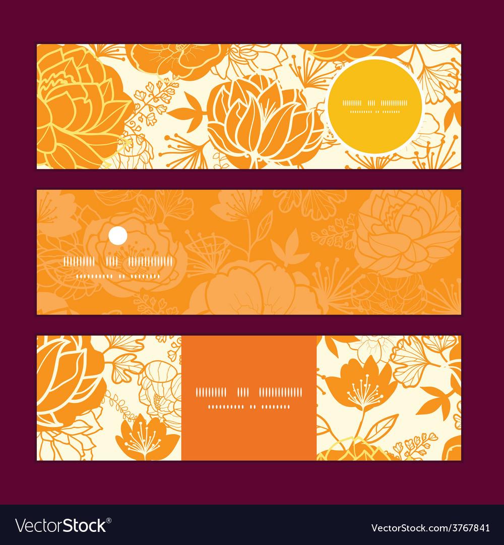 Golden art flowers horizontal banners set vector | Price: 1 Credit (USD $1)