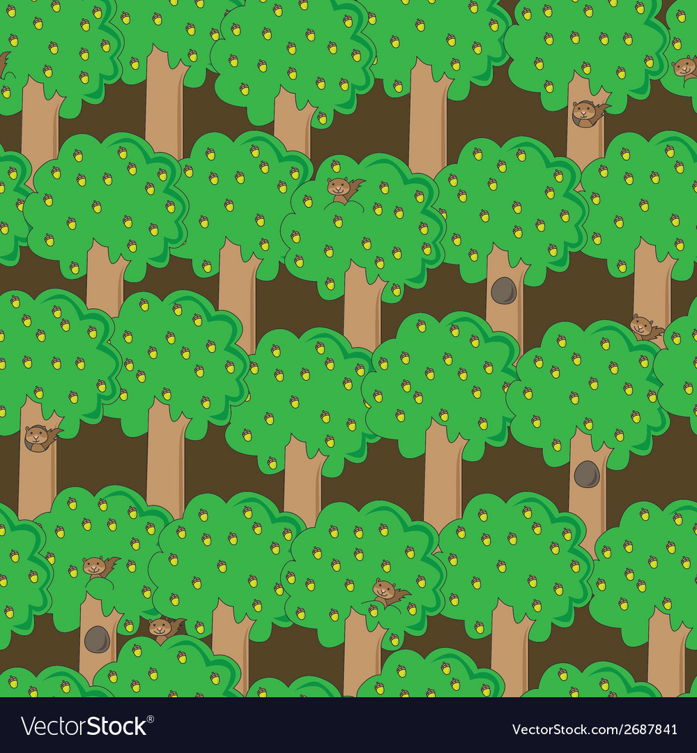 Happy squirrels pattern vector | Price: 1 Credit (USD $1)