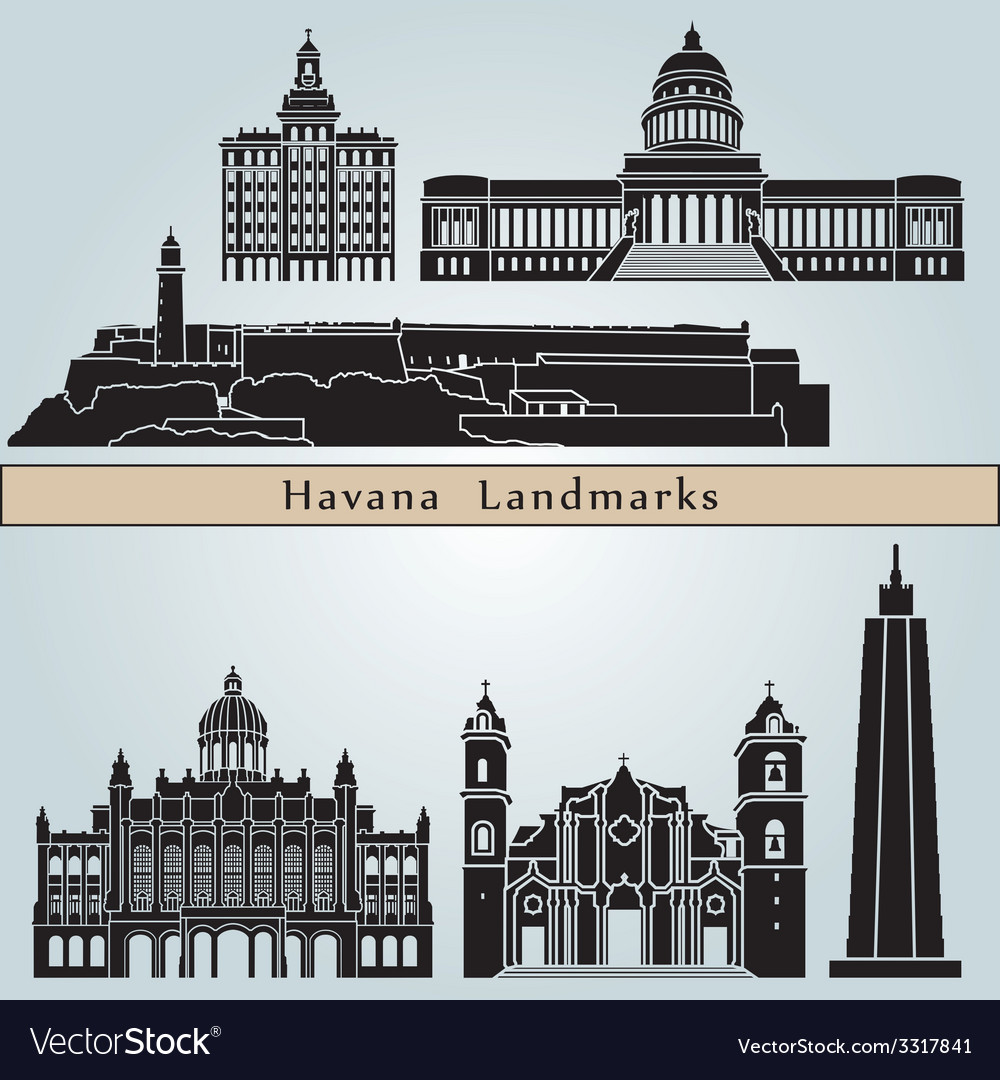 Havana landmarks and monuments vector | Price: 1 Credit (USD $1)