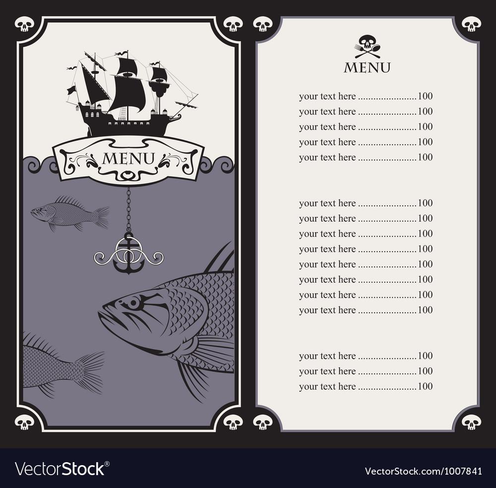 Menu with sailboat vector | Price: 1 Credit (USD $1)