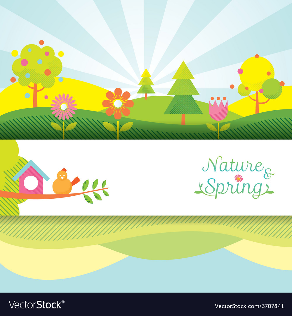 Spring season object icons banner and background vector | Price: 1 Credit (USD $1)