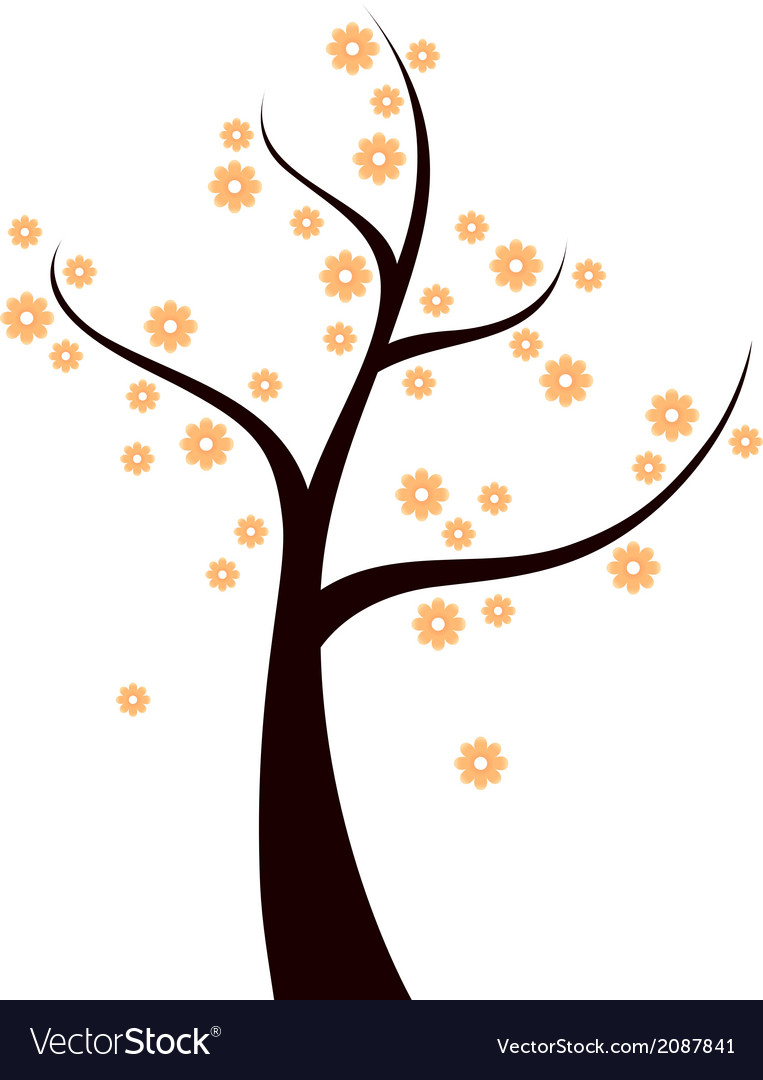 Spring tree with orange flowers isolated on white vector | Price: 1 Credit (USD $1)