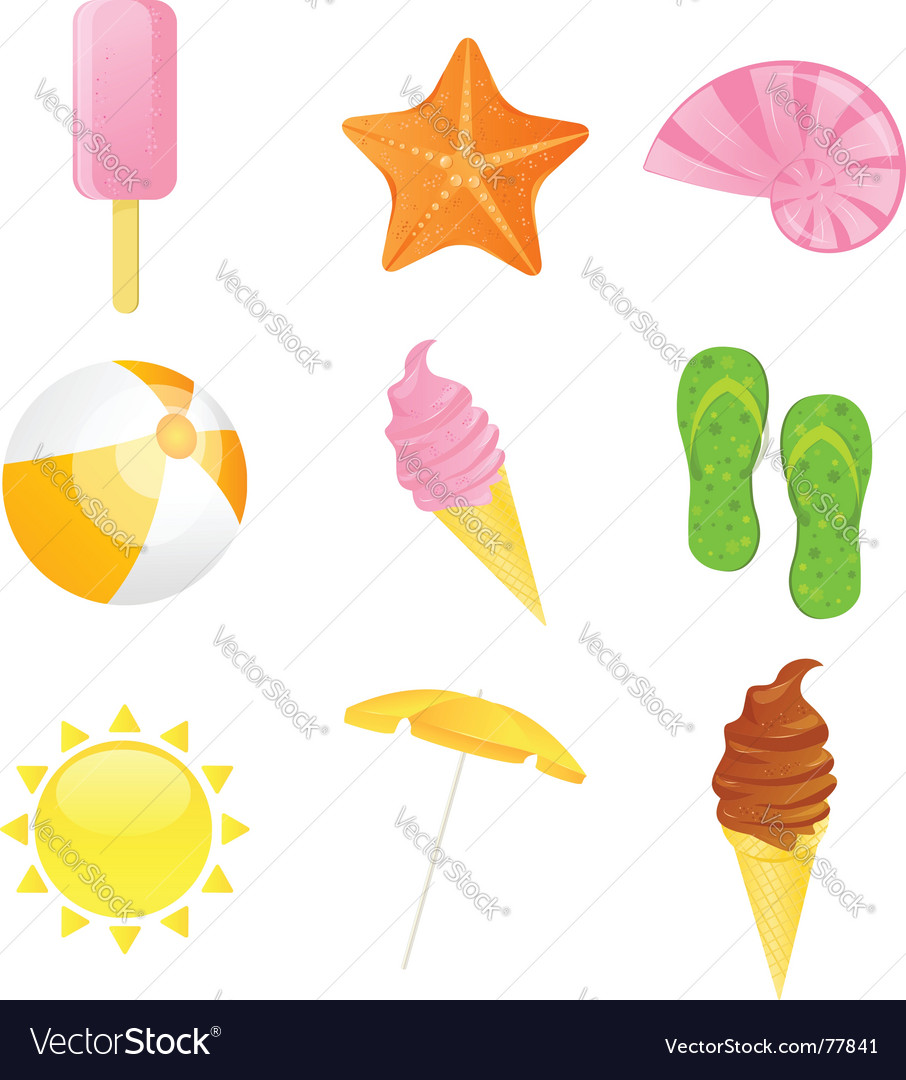Summer beach icon set illustration vector | Price: 3 Credit (USD $3)