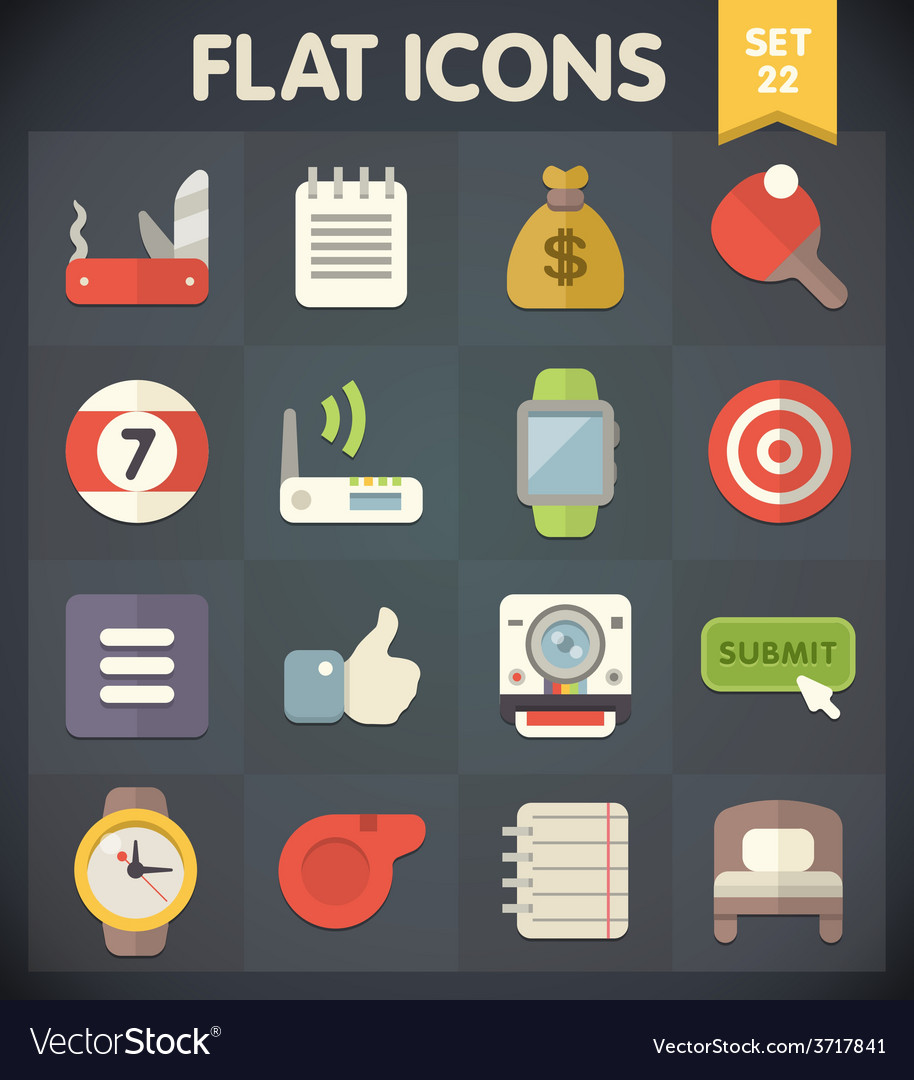Universal flat icons set for applications 22 vector | Price: 1 Credit (USD $1)