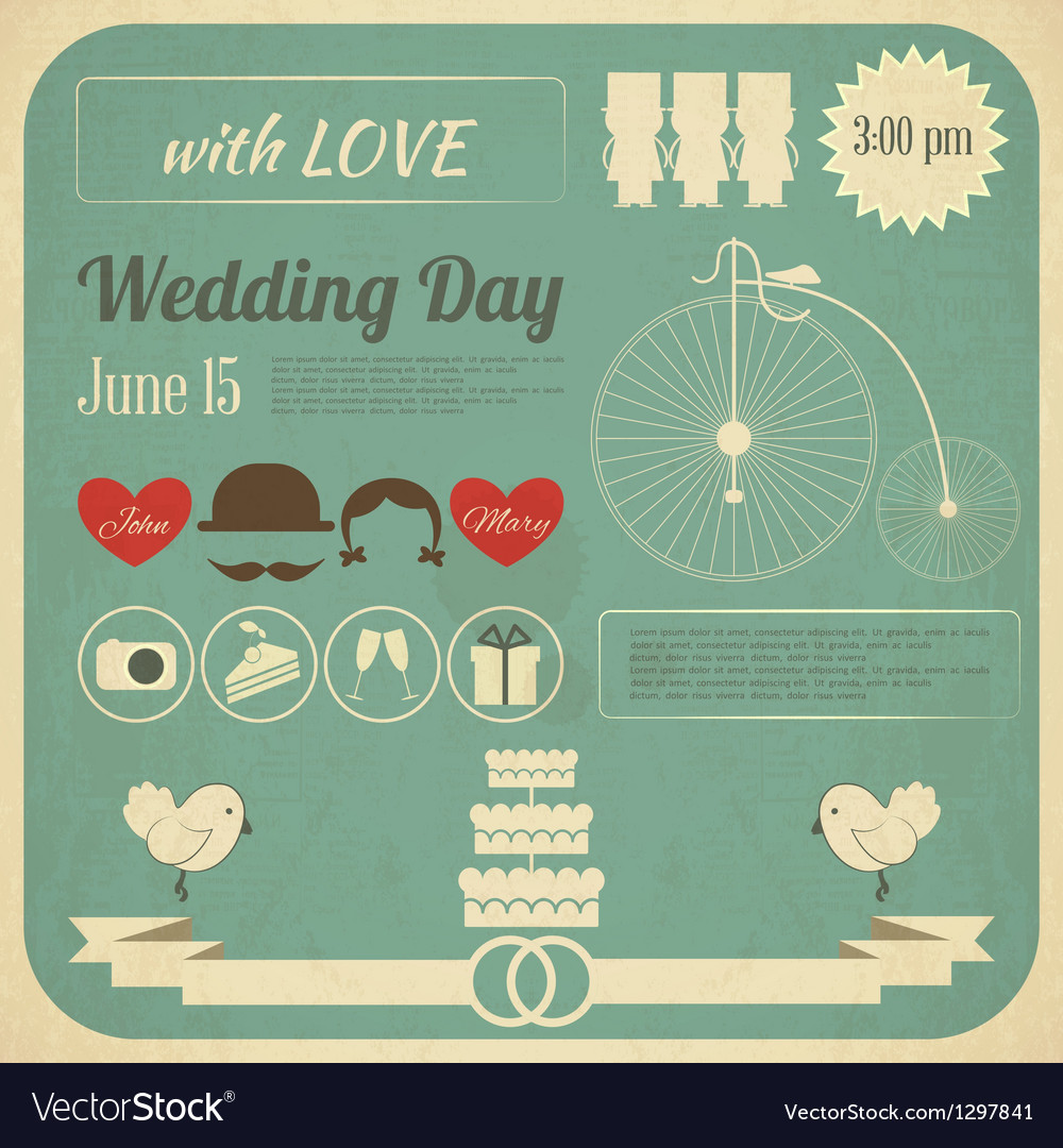 Wedding invitation infographics card vector | Price: 1 Credit (USD $1)