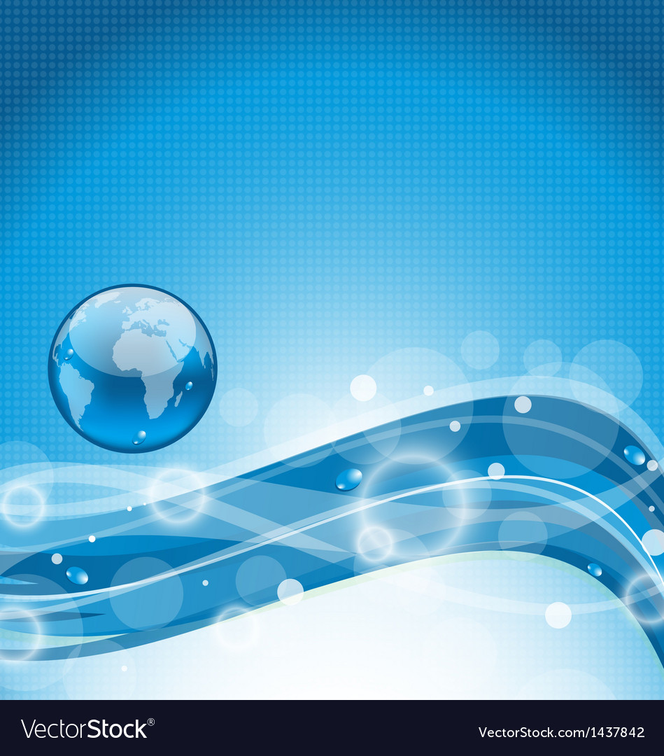 Abstract wavy water background with earth symbol vector   Price: 1 Credit (USD $1)