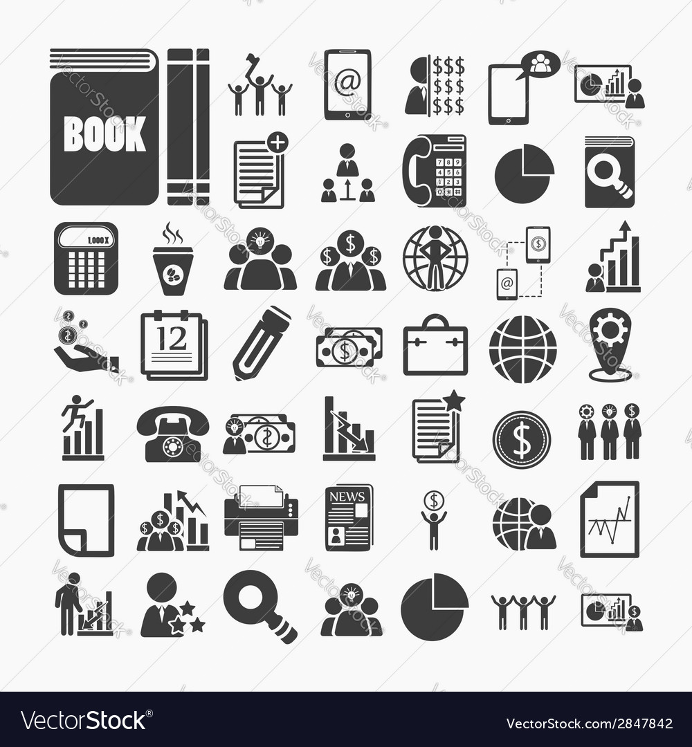 Business icons and finance icons on white paper vector | Price: 1 Credit (USD $1)