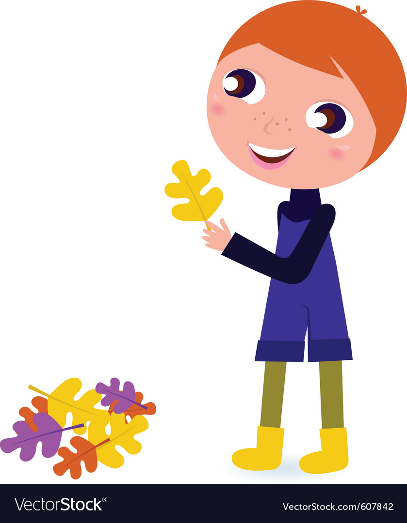 Cute little autumn boy holding leaf vector | Price: 1 Credit (USD $1)