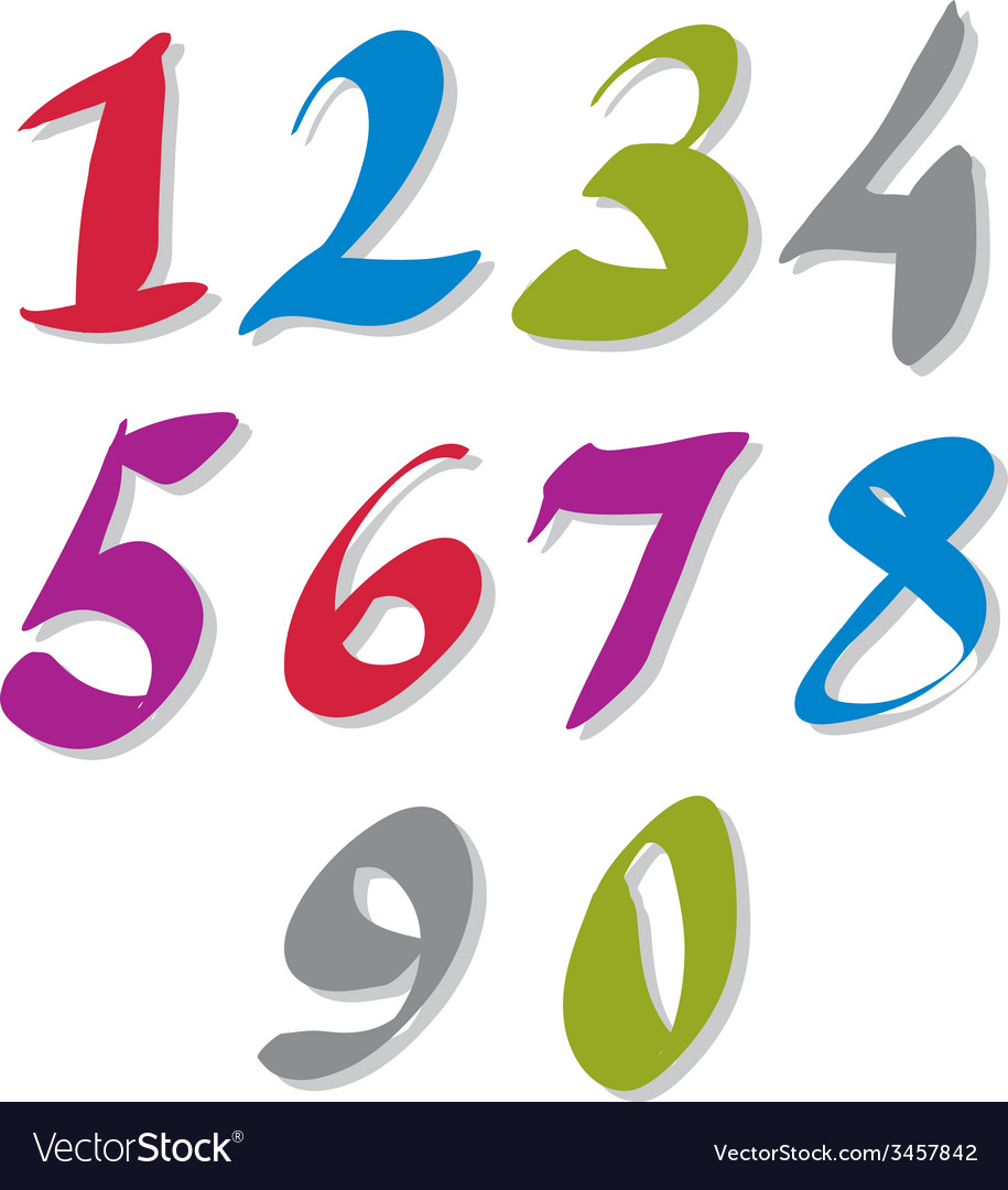 Hand written colorful numbers stylish drawn vector | Price: 1 Credit (USD $1)