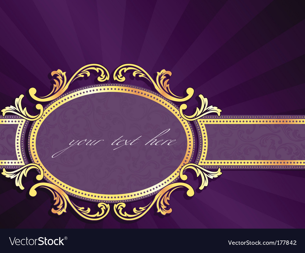 Horizontal label with gold filigree vector | Price: 1 Credit (USD $1)