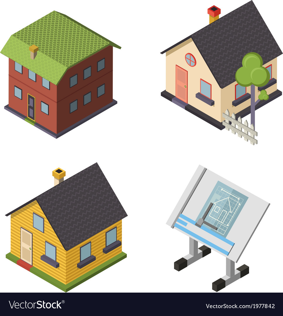 Isometric retro flat house icons and symbols set vector | Price: 1 Credit (USD $1)