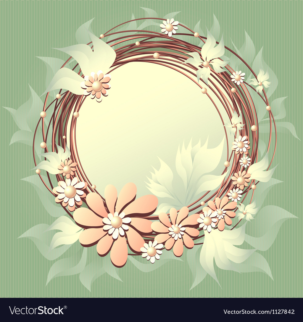 Scrapbooking floral frame with flowers pearls and vector | Price: 1 Credit (USD $1)