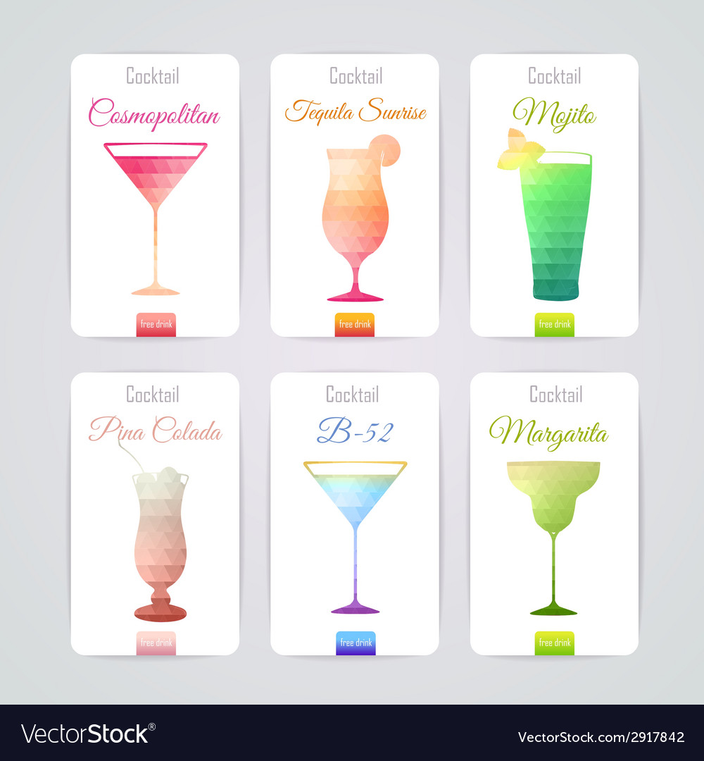 Set of cocktail banners vector | Price: 1 Credit (USD $1)