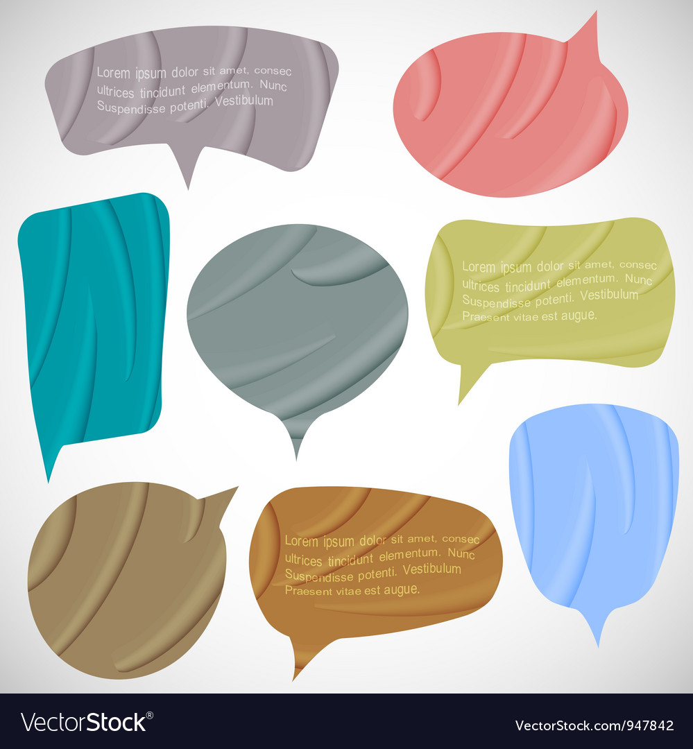 Set of silk speech bubbles vector | Price: 1 Credit (USD $1)