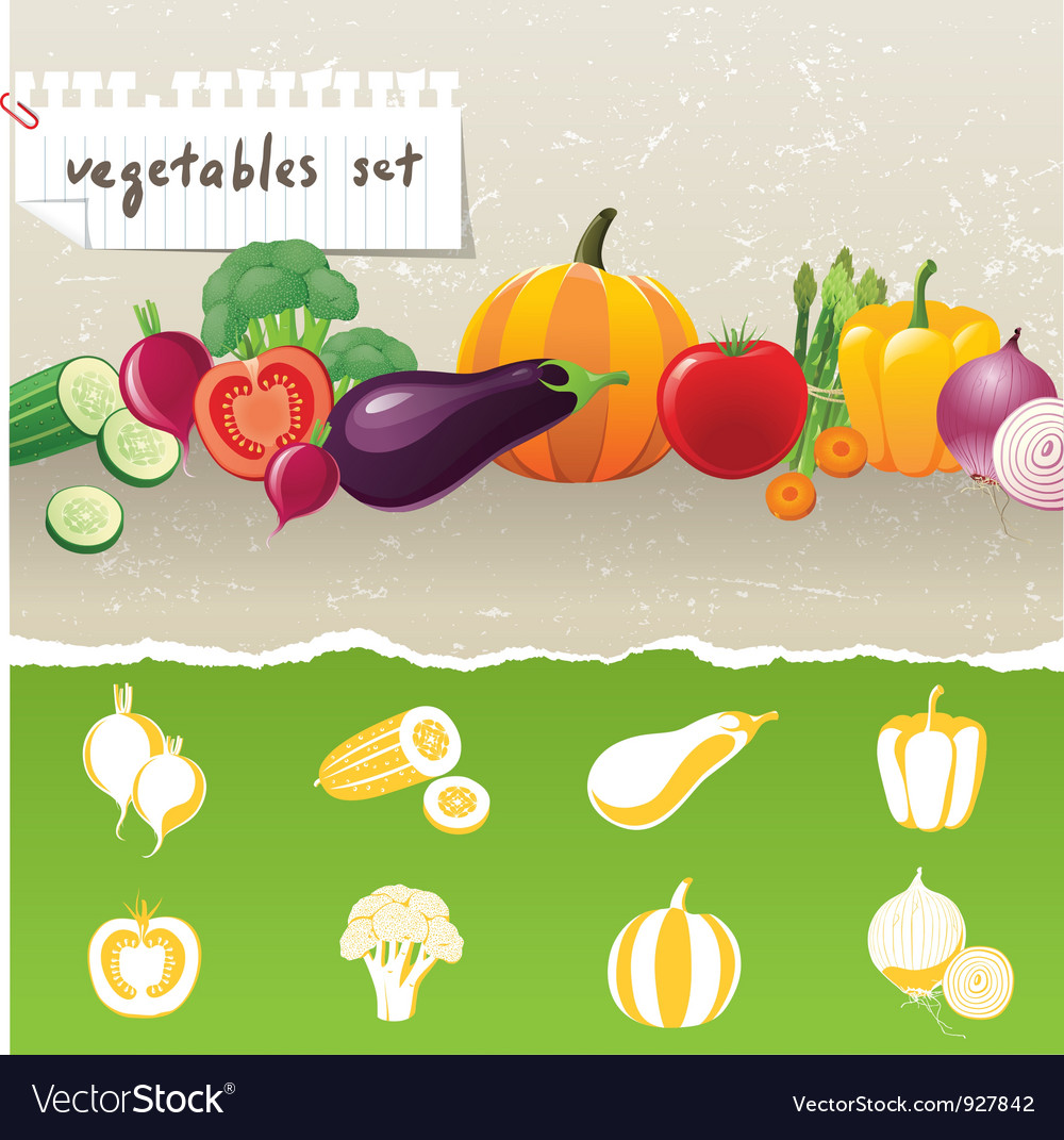 Stylized vegetables icons vector | Price: 3 Credit (USD $3)