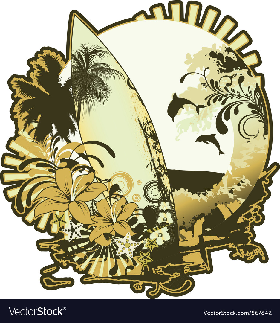Summer emblem with surfboard vector | Price: 1 Credit (USD $1)
