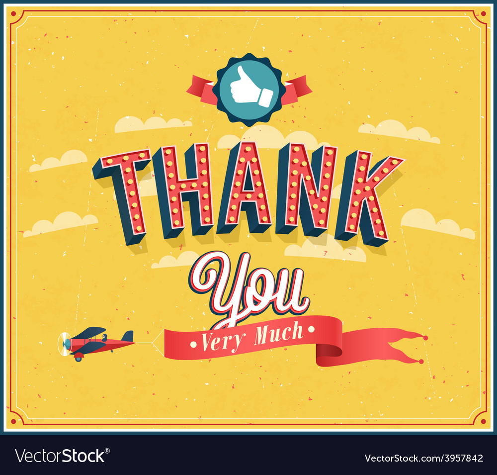 Thank you very much vintage emblem vector | Price: 1 Credit (USD $1)