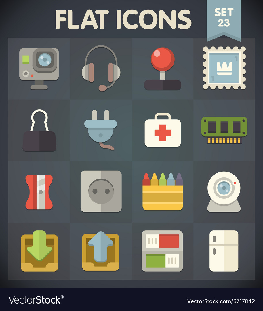 Universal flat icons set for applications 23 vector | Price: 1 Credit (USD $1)