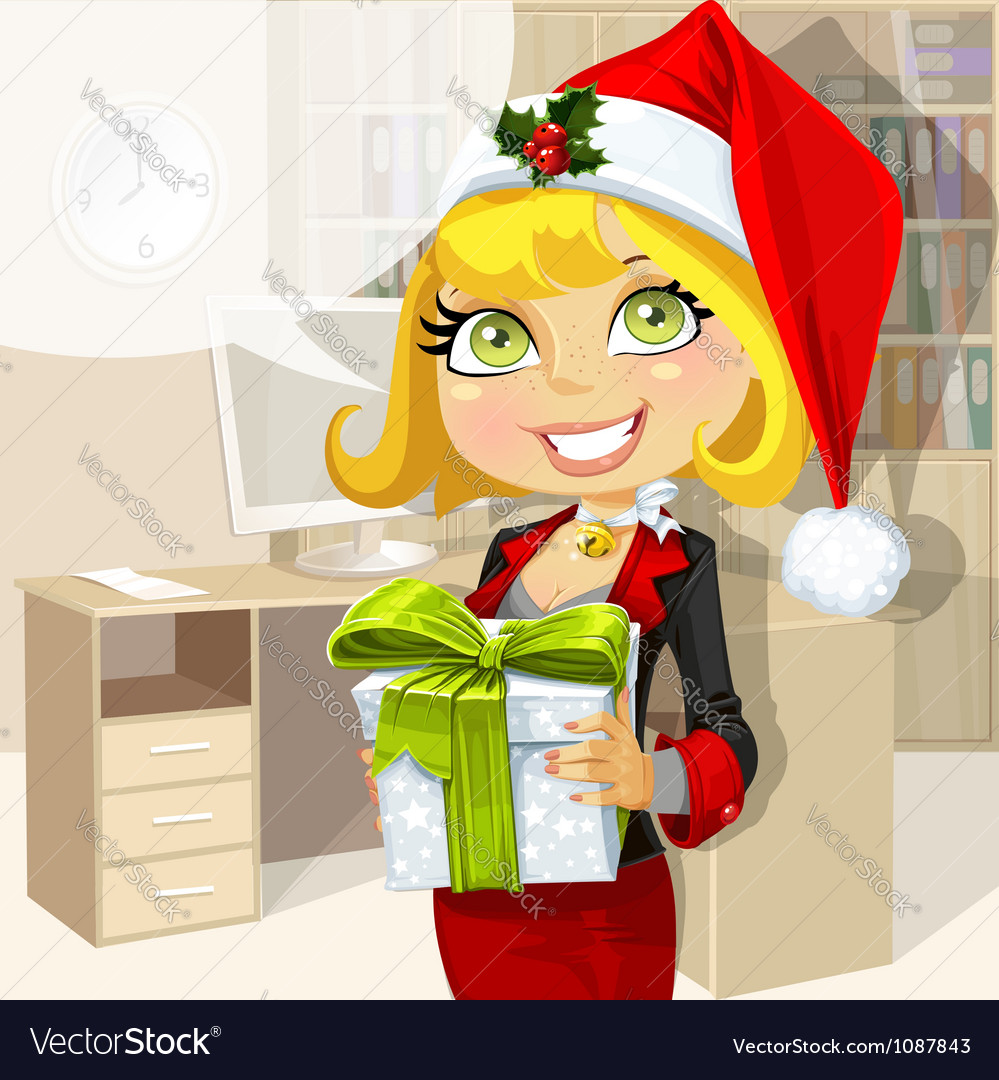 Business lady in santa hat vector | Price: 3 Credit (USD $3)