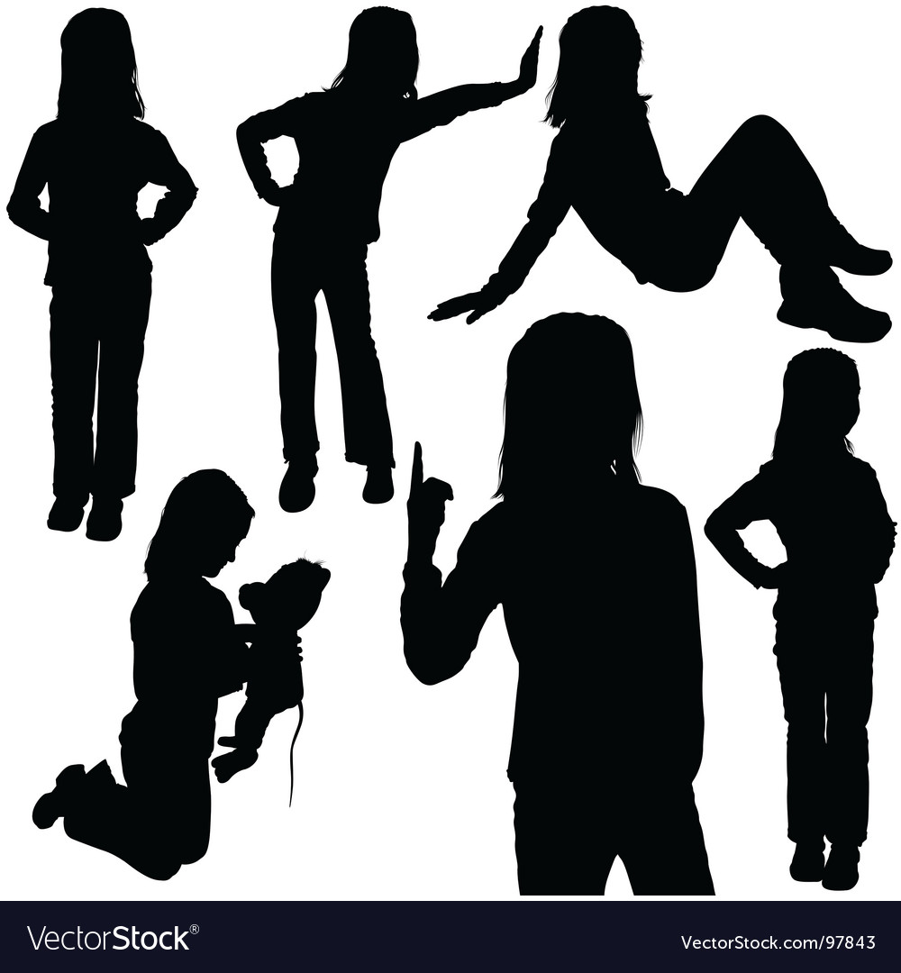 Child's silhouettes vector | Price: 1 Credit (USD $1)