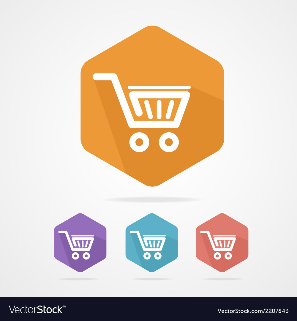 Flat shopping basket icon vector | Price: 1 Credit (USD $1)