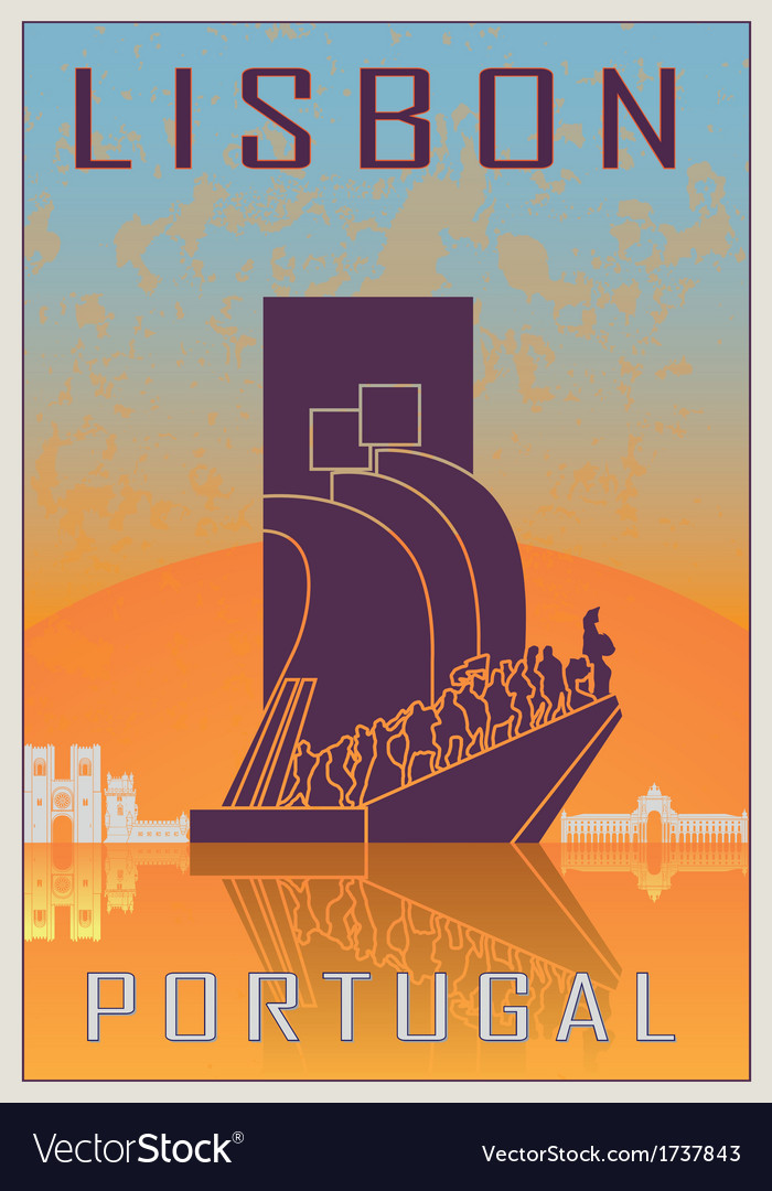 Lisbon vintage poster vector | Price: 1 Credit (USD $1)