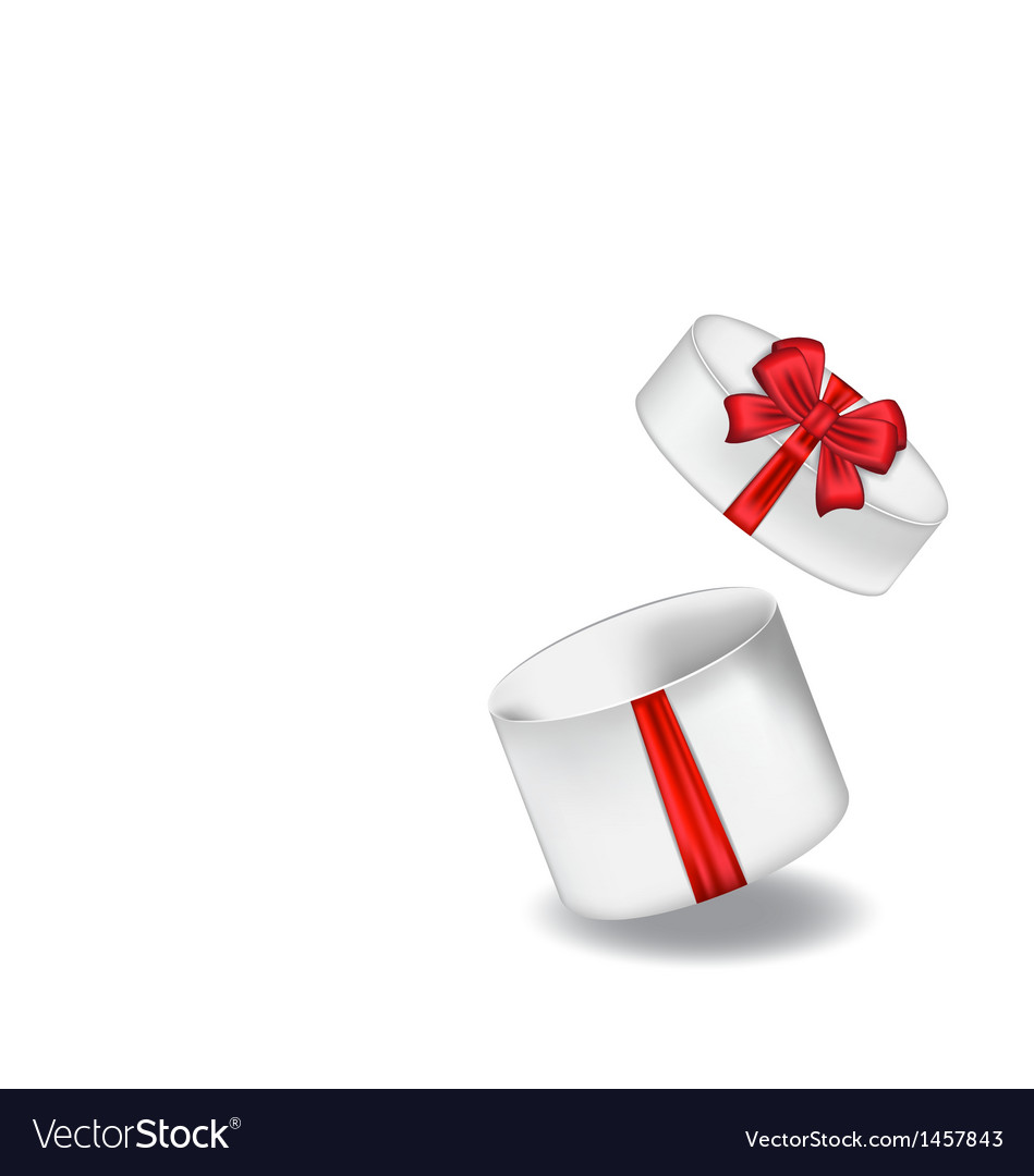 Open gift box with red bow isolated on white vector | Price: 1 Credit (USD $1)