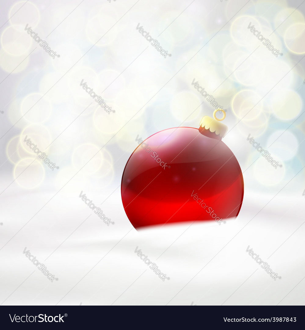 Red ball lying in the snow vector | Price: 1 Credit (USD $1)