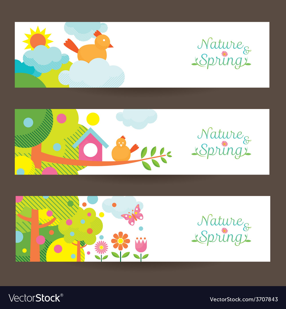 Spring season object icons banner vector | Price: 1 Credit (USD $1)