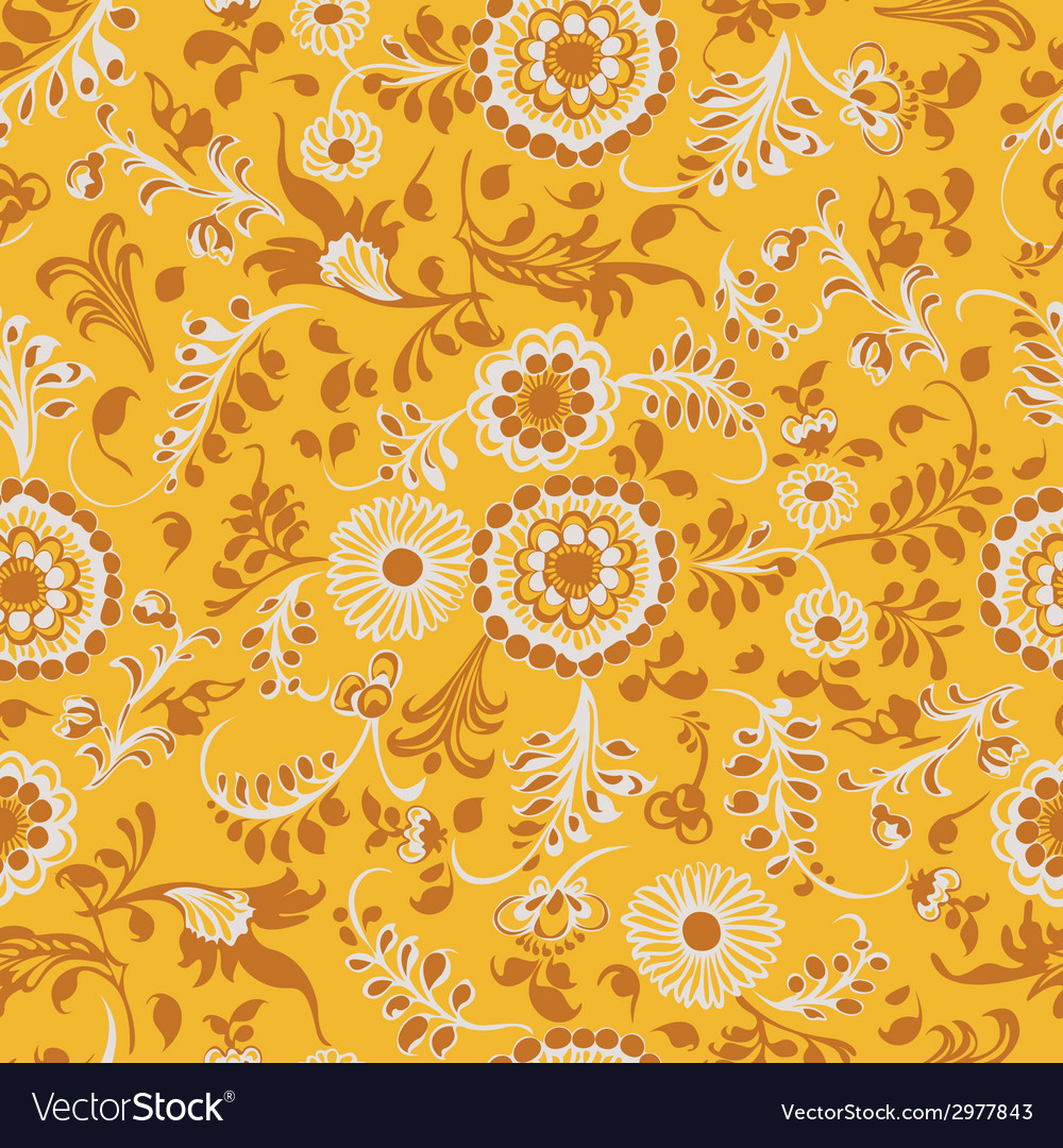 Vintage seamless floral pattern yellow vector | Price: 1 Credit (USD $1)