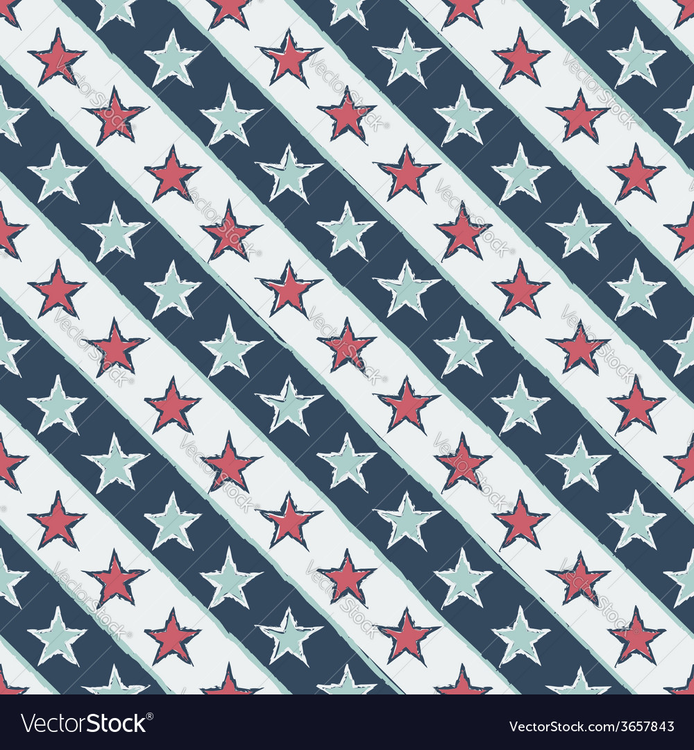Vintage seamless pattern with stars vector | Price: 1 Credit (USD $1)
