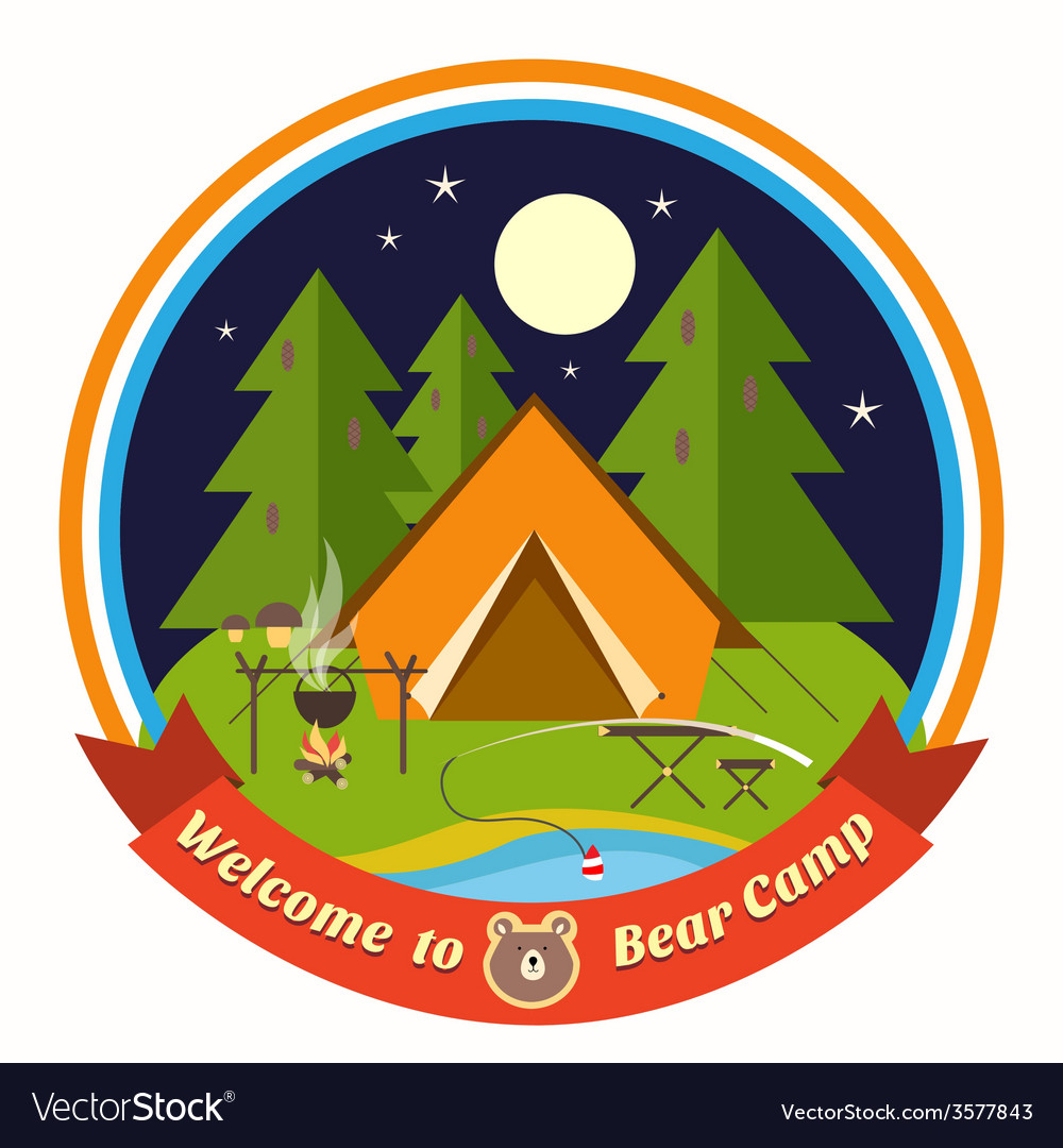Welcome to bear camp badge vector | Price: 1 Credit (USD $1)