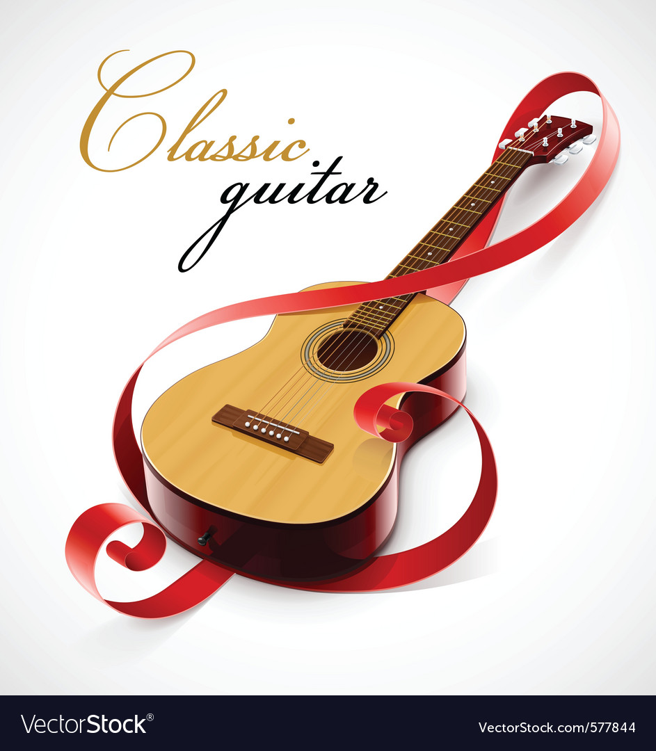 Classic guitar as clef simbol vector | Price: 3 Credit (USD $3)