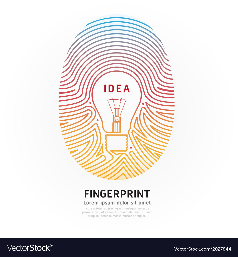 Fingerprint lightbulb color vector | Price: 1 Credit (USD $1)