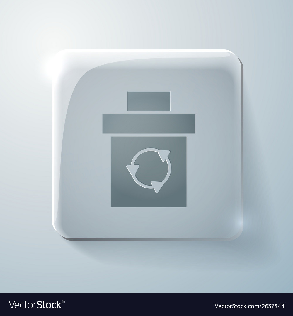 Glass square icon with highlights basket garbage vector | Price: 1 Credit (USD $1)