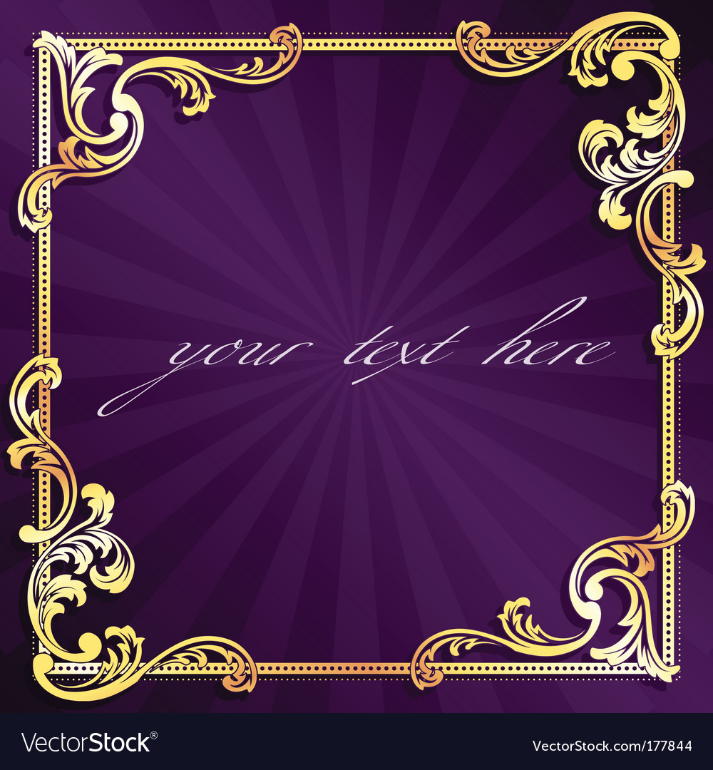 Golden frame with gold filigree vector | Price: 1 Credit (USD $1)