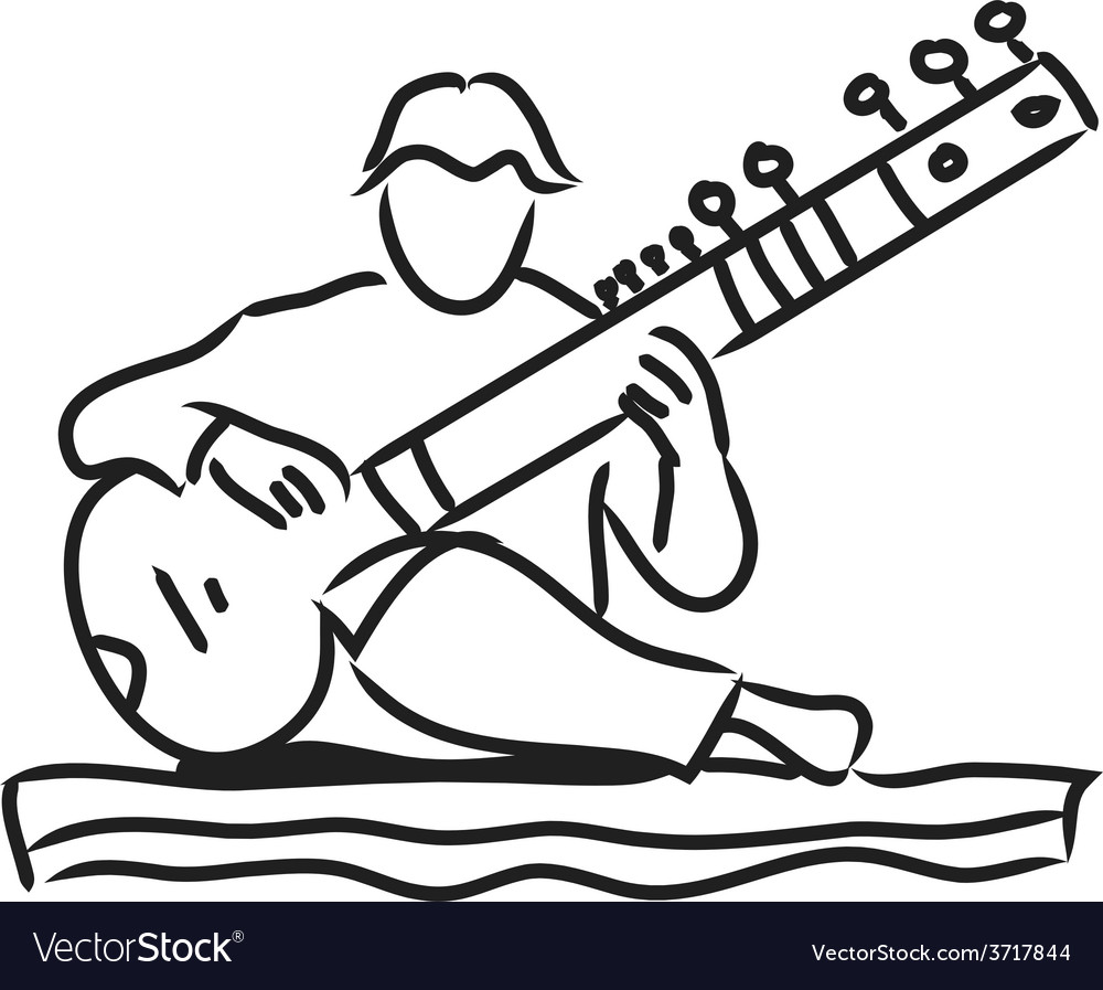 Indian musician playing the sitar vector | Price: 1 Credit (USD $1)