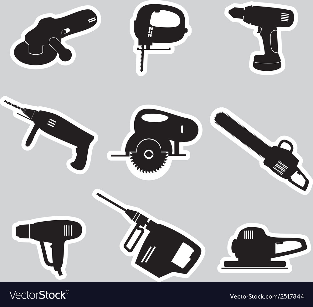 Power tools stickers set eps10 vector | Price: 1 Credit (USD $1)